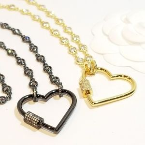 Jewelry - Bling Heart Carabiner Lock Pendant Charm Necklace